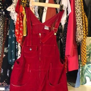 Vintage Red corduroy overalls